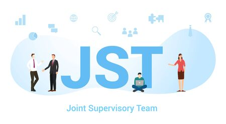jst concept with big word or text and team people with modern flat style - vector illustration Vektorové ilustrace