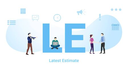 le latest estimate concept with big word or text and team people with modern flat style - vector illustration