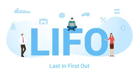 lifo last in first out concept with big word or text and team people with modern flat style - vector illustration