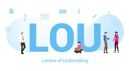 Lou letters Of undertaking concept with big word or text and team people with modern flat style - vector illustration