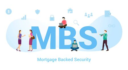 Mbs mortgage backed security concept with big word or text and team people with modern flat style - vector illustration