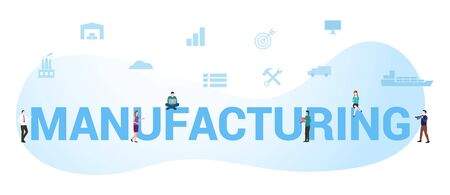 Manufacturing business concept with big word or text and team people with modern flat style - vector illustration
