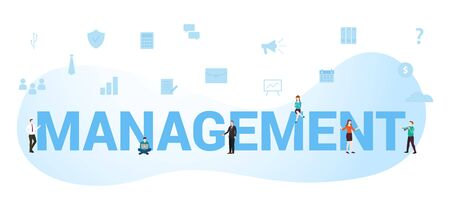 Management business concept with big word or text and team people with modern flat style - vector illustration