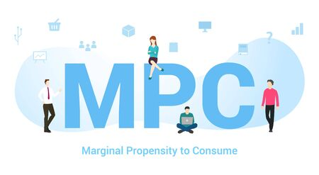 mpc marginal propensity to consume concept with big word or text and team people with modern flat style - vector illustration