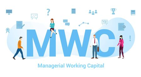 mwc managerial working capital concept with big word or text and team people with modern flat style - vector illustration