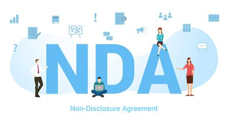 nda non disclosure agreement concept with big word or text and team people with modern flat style - vector illustration Illusztráció