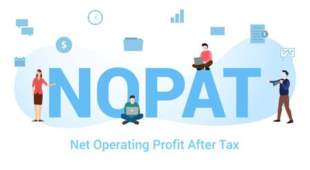 nopat non operating profit after tax concept with big word or text and team people with modern flat style - vector illustration Illustration