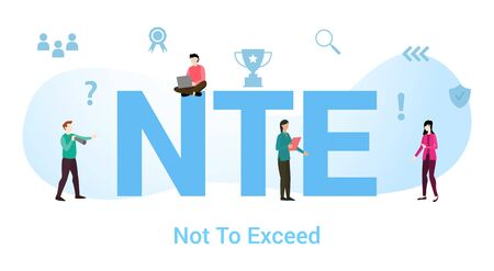 nte not to exceed concept with big word or text and team people with modern flat style - vector illustration Illustration