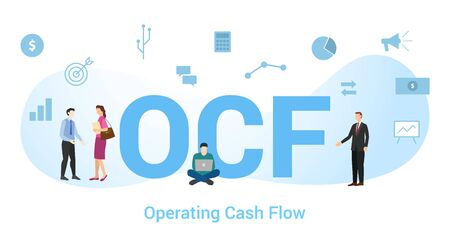 ocf concept with big word or text and team people with modern flat style - vector illustration Illustration