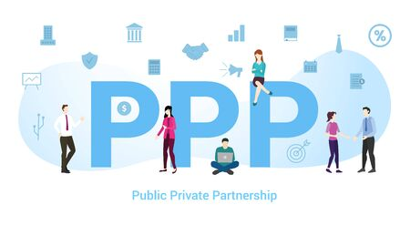 ppp public private partnership concept with big word or text and team people with modern flat style - vector