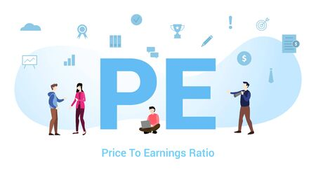 pe price to earnings ratio concept with big word or text and team people with modern flat style - vector Vektoros illusztráció