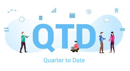 qtd quarter to date concept with big word or text and team people with modern flat style - vector illustration