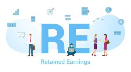 re retained earnings concept with big word or text and team people with modern flat style - vector illustration