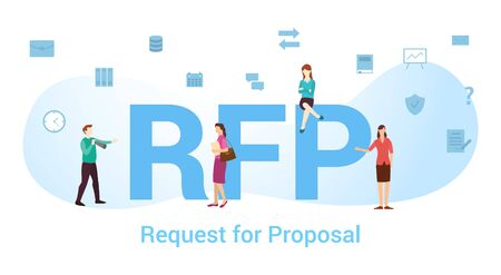 rfp request for proposal concept with big word or text and team people with modern flat style - vector illustration