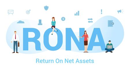 rona return on net assets concept with big word or text and team people with modern flat style - vector illustration
