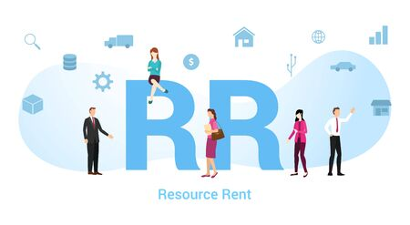 rr resource rent concept with big word or text and team people with modern flat style - vector illustration