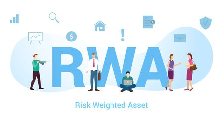 rwa risk weighted asset concept with big word or text and team people with modern flat style - vector illustration