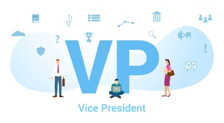 vp vice president concept with big word or text and team people with modern flat style - vector illustration