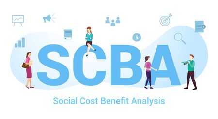 scba social cost benefit analysis concept with big word or text and team people with modern flat style - vector illustration