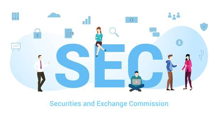 sec securities and exchange commission concept with big word or text and team people with modern flat style - vector illustration