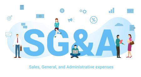 sg&a sales general and administration expenses concept with big word or text and team people with modern flat style - vector illustration