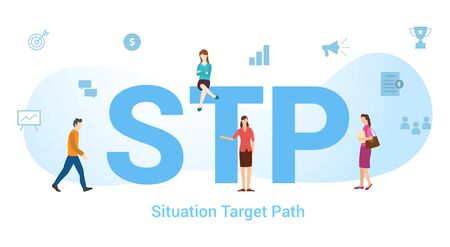 stp situation target path concept with big word or text and team people with modern flat style - vector illustration