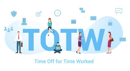 Totw Time off for time worked with big word or text and team people with modern flat style - vector illustration Standard-Bild - 134534160