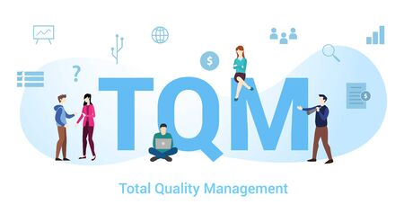 tqm total quality management concept with big word or text and team people with modern flat style - vector illustration Ilustração