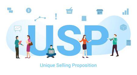 concept de proposition de vente unique usp avec un grand mot ou un texte et des gens d'équipe avec un style plat moderne - illustration vectorielle