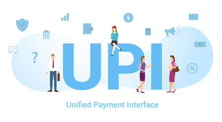 upi unified payment interface concept with big word or text and team people with modern flat style - vector illustration