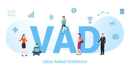 vad value added distributor concept with big word or text and team people with modern flat style - vector illustration