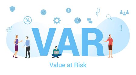 var value at risk concept with big word or text and team people with modern flat style - vector illustration Ilustração