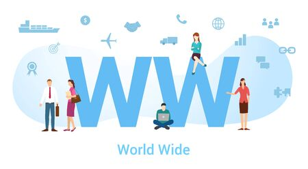ww world wide concept with big word or text and team people with modern flat style - vector illustration
