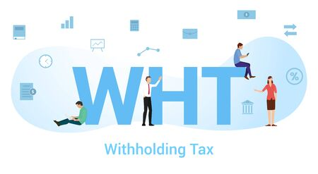 wht withholding tax concept with big word or text and team people with modern flat style - vector illustration