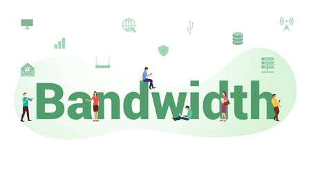 bandwidth internet speed connection concept with big word or text and team people with modern flat style - vector illustration 向量圖像