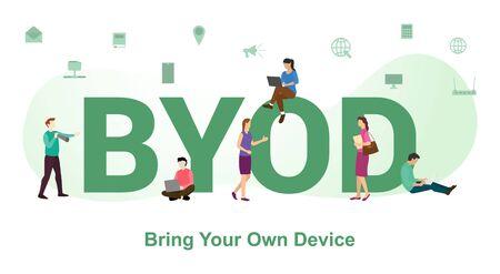 byod trae tu propio concepto de dispositivos con grandes palabras o texto y personas del equipo con un estilo plano moderno - ilustración vectorial