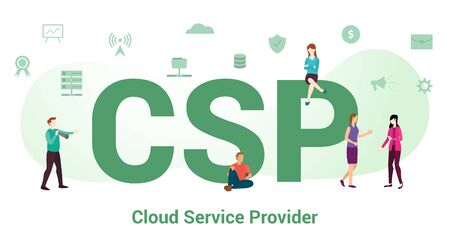 csp cloud service provider concept with big word or text and team people with modern flat style - vector illustration