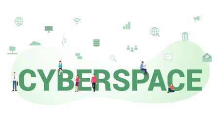 Cyberspace  concept with big word or text and team people with modern flat style Illustration