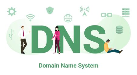 dns domain name system concept with big word or text and team people with modern flat style - vector illustration Векторная Иллюстрация