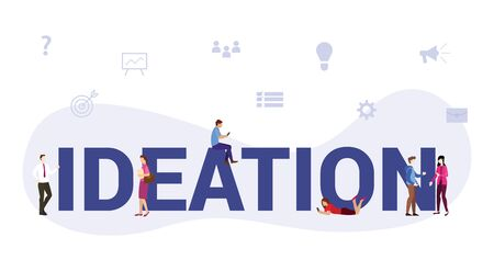 ideation business process concept with big word or text and team people with modern flat style - vector Illustration