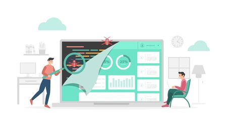 qa quality assurance check data program bugs with modern flat style and minimalist green color theme vector  イラスト・ベクター素材