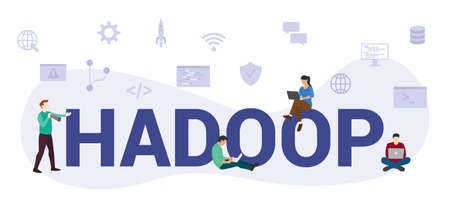 hadoop programming language concept with modern big text or word and people with icon related modern flat style