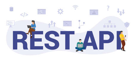 rest api concept with modern big text or word and people with icon related modern flat style Vector Illustration