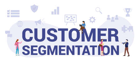 customer segmentation concept with modern big text or word and people with icon related modern flat style