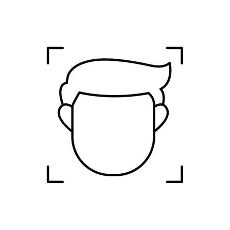 face recognition single isolated icon with line or outline style