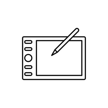 hand drawing pen tablet device single isolated icon with line or outline style