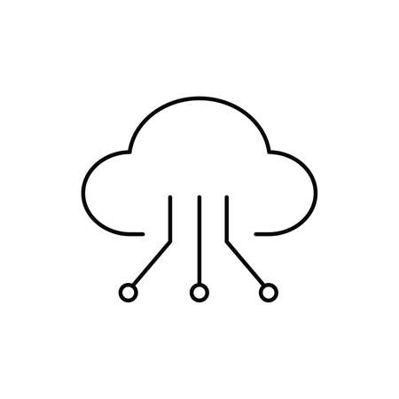 cloud computing technology single isolated icon with line or outline style 矢量图像