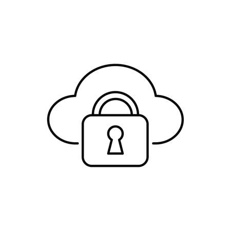 cloud security padlock technology single isolated icon with line or outline style
