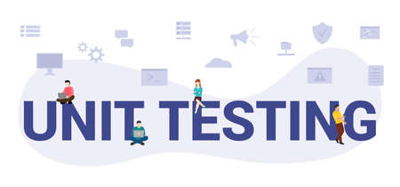 unit testing concept with modern big text or word and people with icon related modern flat style vector illustration