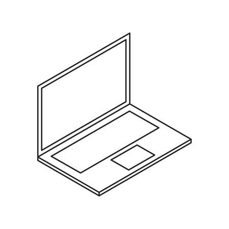 laptop notebook single isolated icon with line or outline style and isometric shape vector illustration 向量圖像